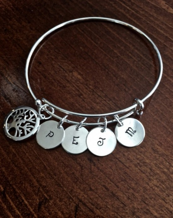 Family Tree personalized Bracelet- Family Initial Bracelet- Grandma Mother