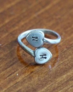Heart Initial ring personalized couples