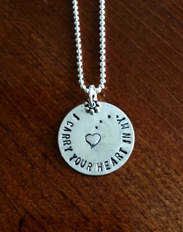 I carry your heart memorial necklace kandsimpressions memorial necklace i carry your heart aloadofball Image collections