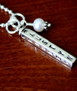 Four sided name bar Childs Name Necklace Date Name Tag