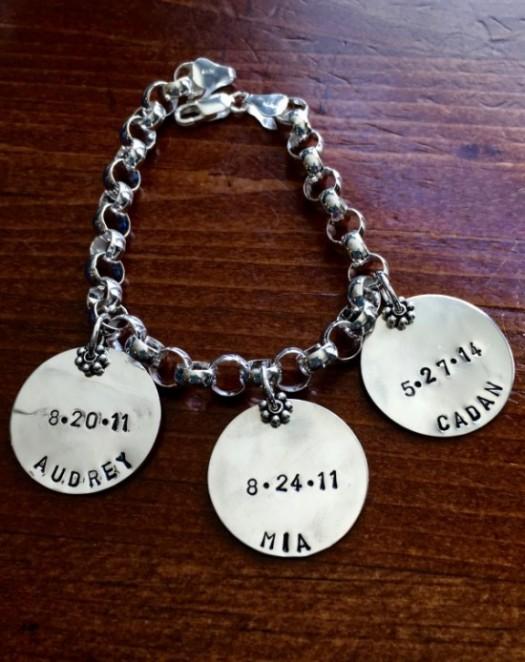 Mothers Family Name Date Charm Bracelet Kandsimpressions
