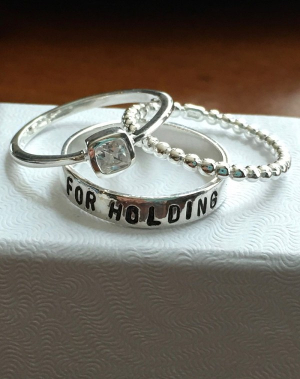 Stackable Personalized Name Ring Set Kandsimpressions
