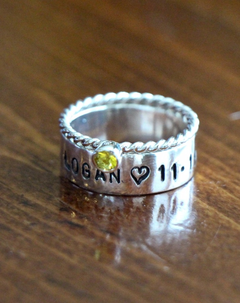 Stackable Family Name Birthstone Ring Kandsimpressions