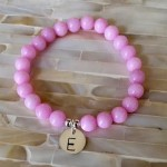 Pink Awareness Initial bracelet- Beaded Bracelet- Breast Cancer Survivor