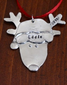 Santa Reindeer personalized ornament pewter