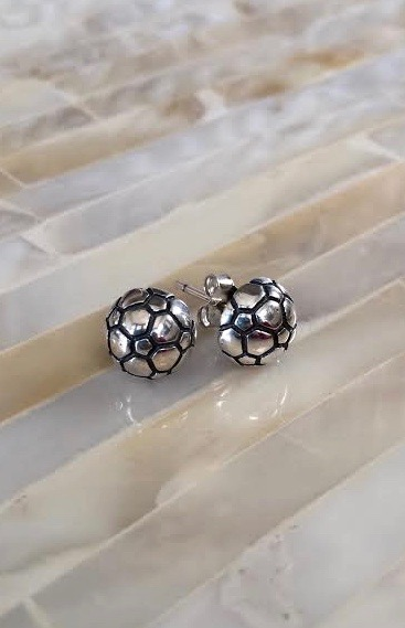 Soccer Ball Earrings- Stud Earrings- Sterling Silver