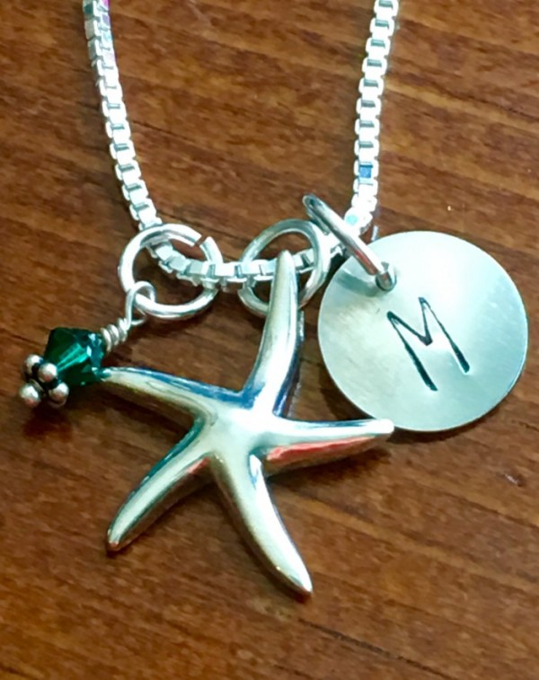 Starfish Initial Necklace- Beach