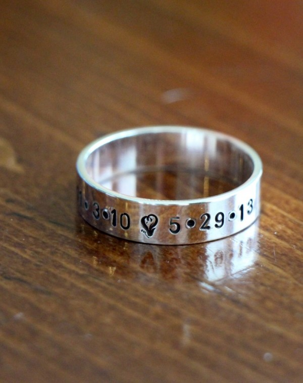 Personalized family Name Date Wedding Band- couples jewelry