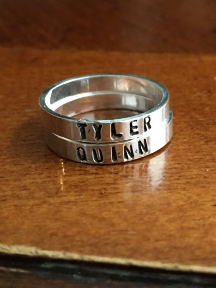 2 Personalized Stackable Name Rings Kandsimpressions