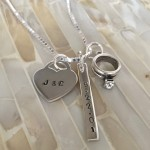 Wedding Initials Date Bar Necklace- Anniversary Necklace