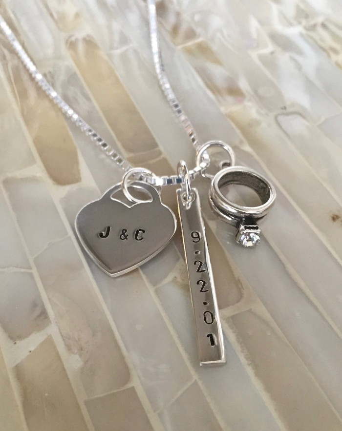 name gemstone charm necklace wedding date arrow delicate memory gift petite chains wwo dainty custom infinity personlized handmade s heart eeb archery