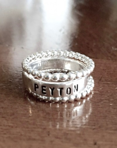 Mom of one Name Ring beaded spacer