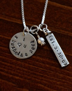 mothers I love you a Bushel and a peck necklace