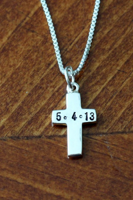 Cross Charm Hand Stamped Name Date Kandsimpressions