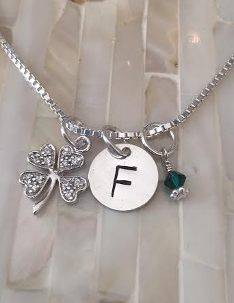 Personalized Irish Shamrock Necklace- four leaf clover