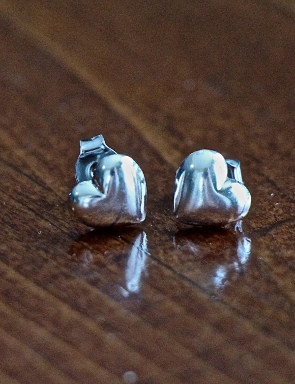 Heart Earrings Sterling Silver Studs