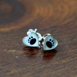 Heart Paw Print Earrings- Studs