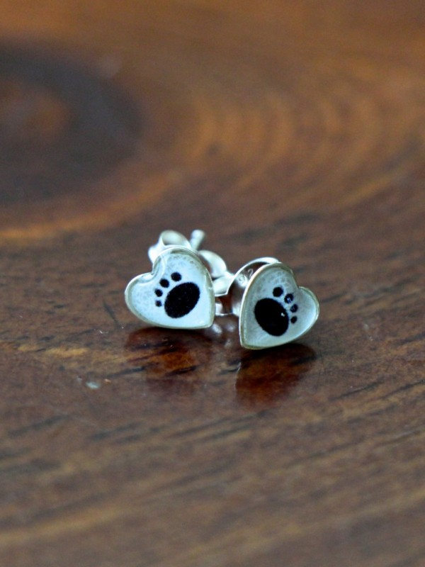 Paw Print Earrings Sterling Silver Kandsimpressions