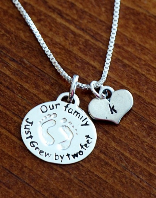 New mothers baby feet initial necklace