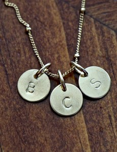 Initial Gold Charm Necklace- Three initials