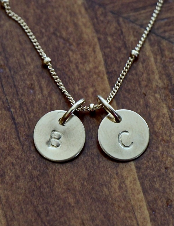 Gold Initial Necklace- Three Initials