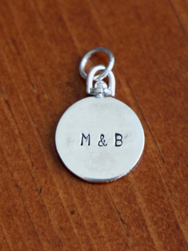 double sided name charm hand stamped