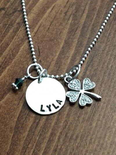 shamrock Irish name necklace