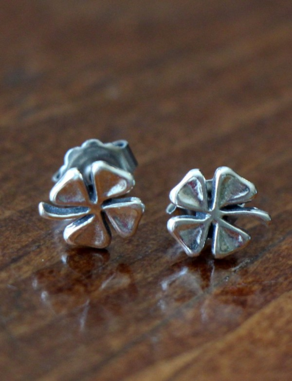 Irish Four Leaf Clover Stud Earrings