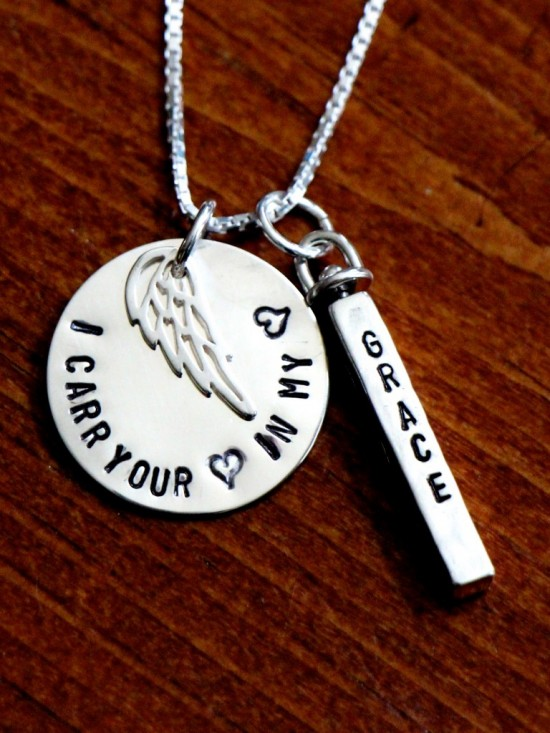 Personalized I carry your heart memorial necklace