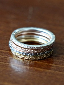 Mixed Metal Stacking Rings- Silver Rose Oxidized Gold