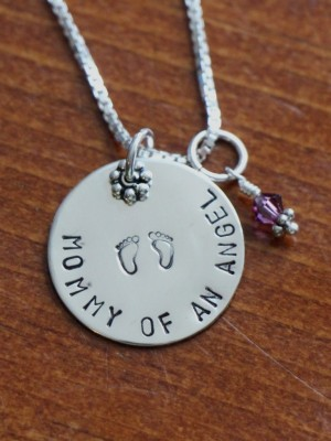 Mothers Angel Baby Memorial Necklace Kandsimpressions