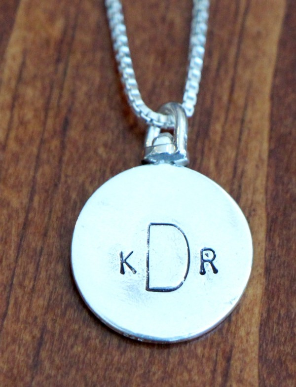 2 sided name circle necklace