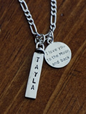 Personalized Moon And Back Necklace Kandsimpressions
