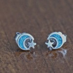 Moon star earrings Blue sterling silver studs