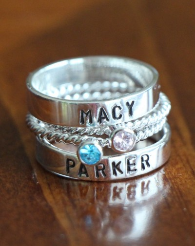 Mothers two Birthstone Name Rings