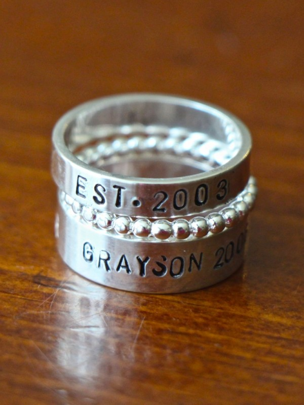 family Name Stacking Rings - children names wedding anniversary date