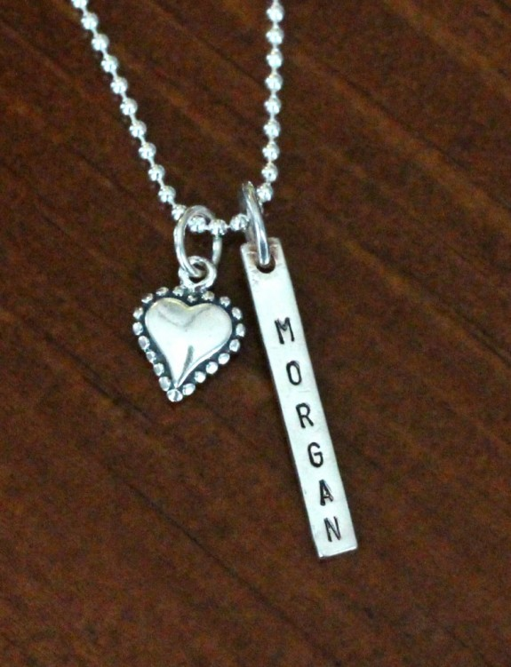 Heart Name Necklace Personalized Bar Kandsimpressions