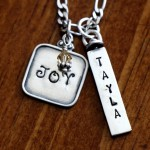 three name layered charm necklace
