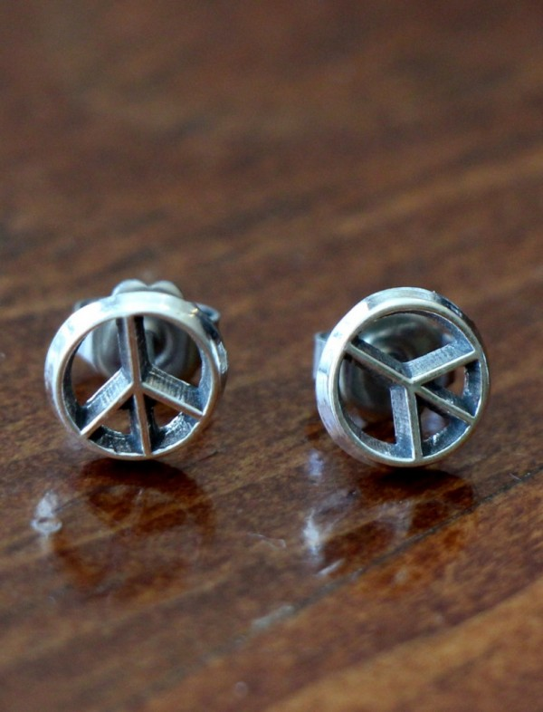 Sterling Silver Peace Sign Earrings Kandsimpressions