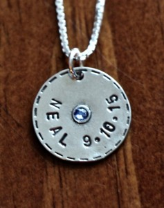 Personalized Name Charm Necklace- Pewter circle birthstone