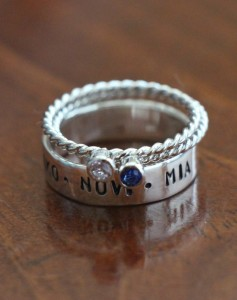 Personalized Name Birthstone Ring Set