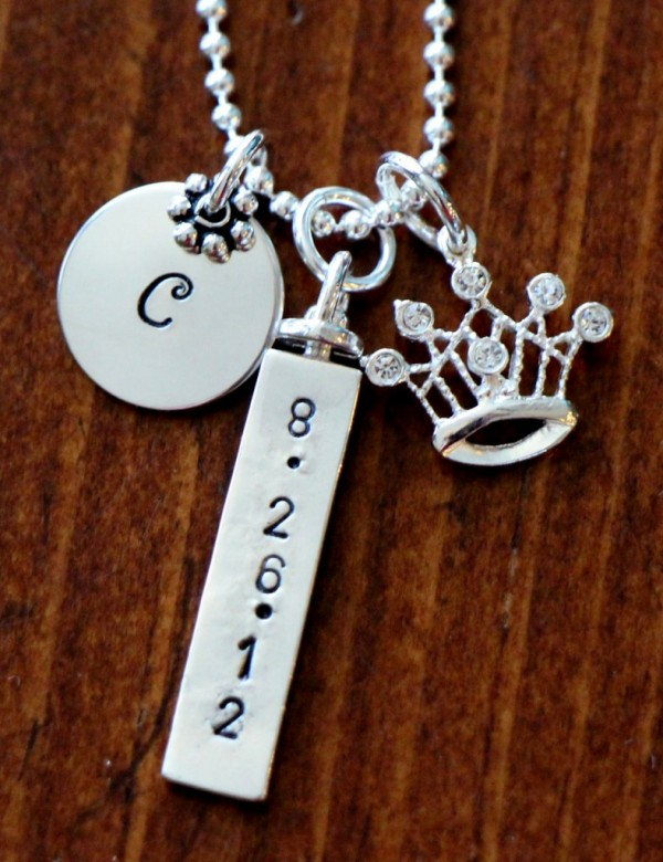Silver Hand Stamped Tiara Necklace Kandsimpressions