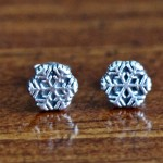 Snow Flake Earrings- Sterling Silver Studs