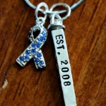 Survivor Personalized awareness Ribbon Necklace blue colon