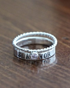 survivor personalized silver kandsimpressions ring birthstone awareness sterling cancer rings new