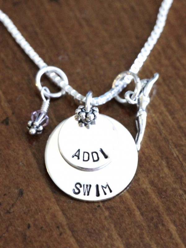 Swimmer's Personalized Necklace- Athlete's Jewelry