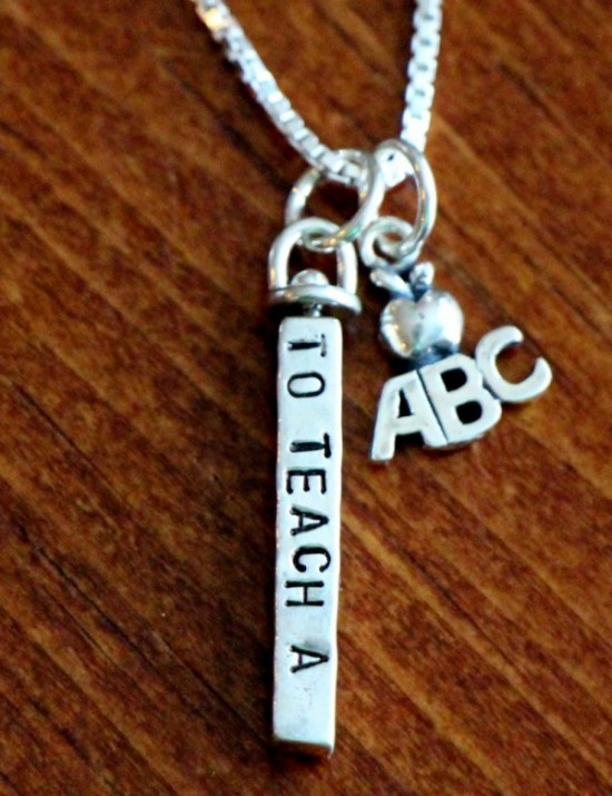 Teacher Neckalce- To teach a child is to touch the future- abc charm