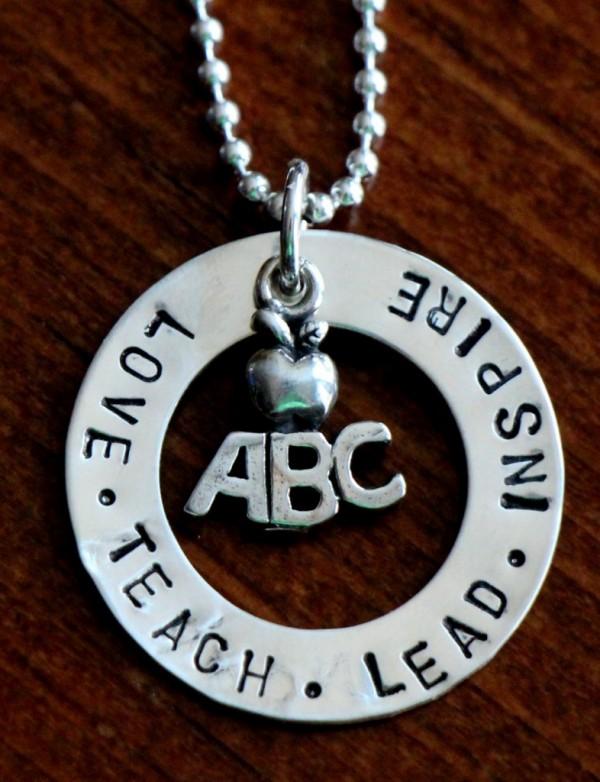 Love Lead Inspire Teacher Necklace Kandsimpressions