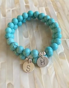 Turquoise Beaded Initial Bracelet- Stretch stacking