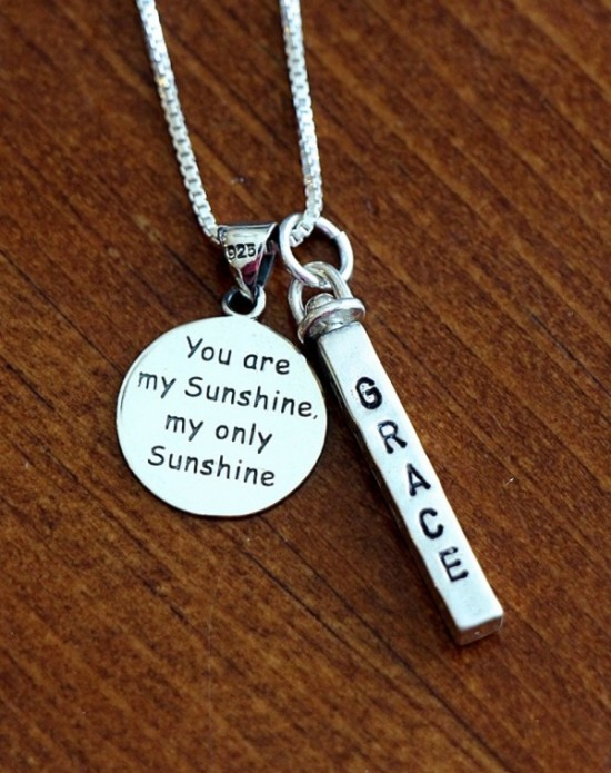 four sided name bar you are my sunshine necklace